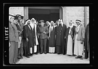 Visit to Beersheba Agricultural Station (Experimental) by Brig. Gen. Allen & staff & talks to Bedouin sheiks of district by station superintendent. Gen. Allan & paramount sheiks of Beersheba LOC matpc.20529.jpg