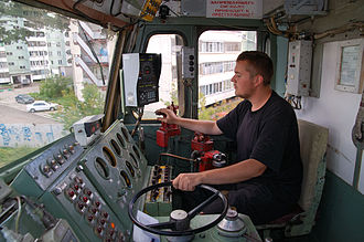 The operating controls of VL80R freight locomotive from Russian Railways. The wheel controls motor power. Vivan755.jpg