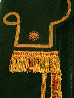 long or short lengths of straight or twisted thread, cord, or tassel, used as trimming