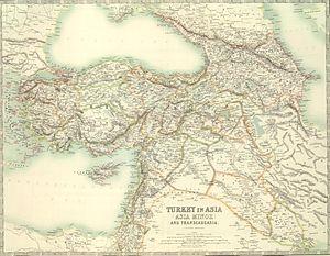 Turkey in Asia - A 1911 map of Turkey in Asia