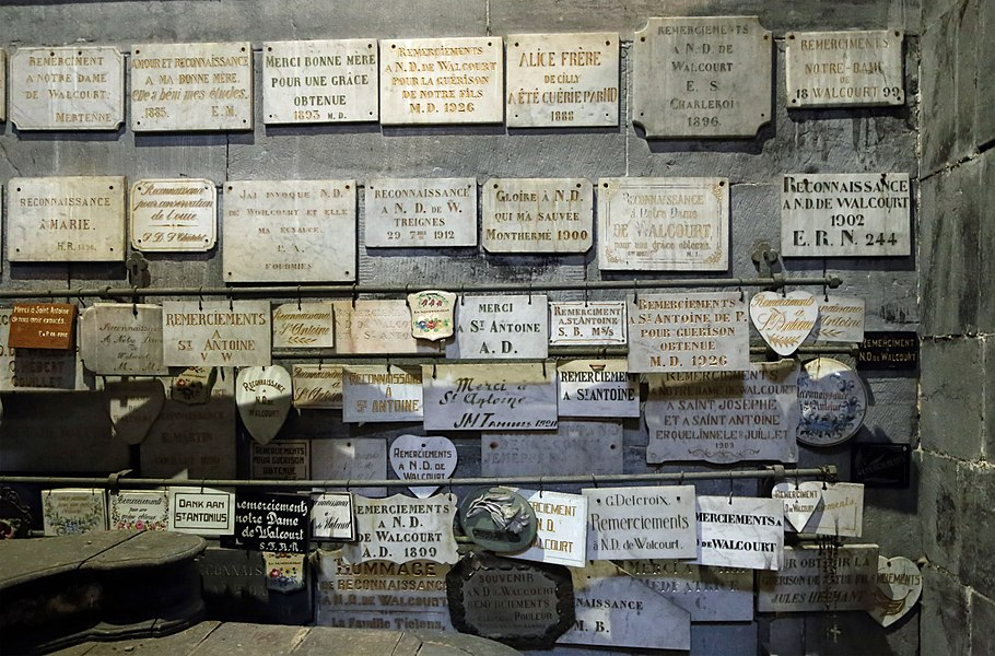 Votive tablets or ex-votos in the St Materne church in Walcourt (Belgium)