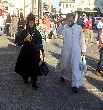 Celibacy - A Russian orthodox nun and monk in the Old City of Jerusalem, 2012