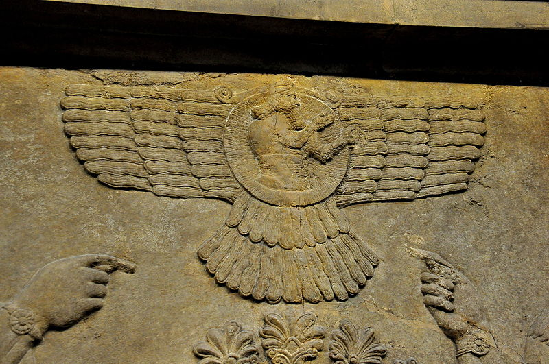 Wall relief depicting the God Ashur (Assur) from Nimrud..JPG