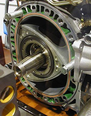 Wankel engine - A partially disassembled Mazda Wankel engine shown at the Deutsches Museum in Munich, Germany