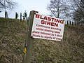 Warning sign on public footpath at Spaunton Quarry - geograph.org.uk - 1193672.jpg