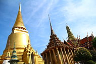 Wat Phra Kaew, View of the Temple of Emerald Buddha and Golden Stupa.