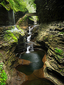 Watkins Glen Rainbow Bridge and Falls David Sullivan cropped.jpg