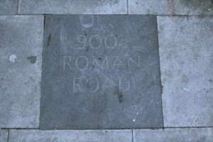 Watling Street - A paving stone on Kilburn High Road in London commemorates the route of Watling Street