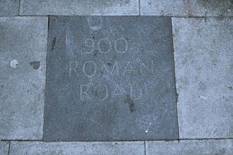 Kilburn, London - A paving stone on Kilburn High Road commemorates the route of Watling Street.