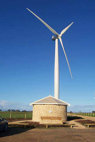 Wind power in Australia - The information centre near the base of one of the towers at Wattle Point Wind Farm
