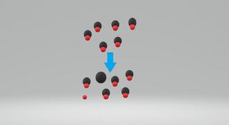 Acid strength - Image of a weak acid partly dissociating