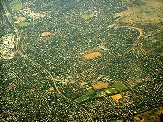 Weetangera, Australian Capital Territory - Weetangera is in the centre of this aerial photo.