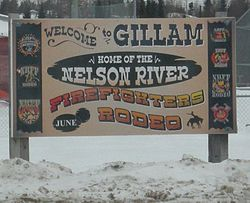 Welcome sign at Gillam