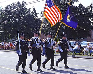 Wells, Maine - Wells Police Department color guard marching in the town's 350th anniversary parade.