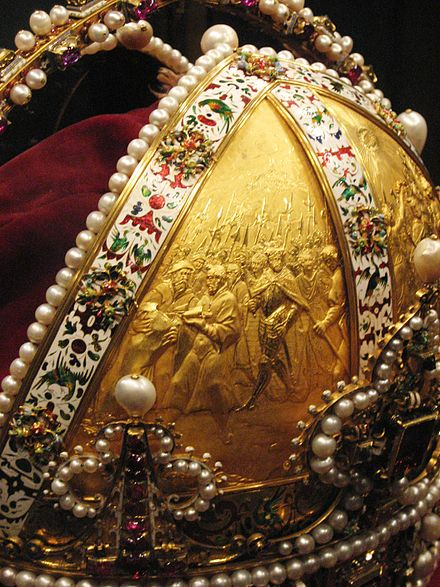 Detail of Rudolf's Imperial crown, gold, enamel and jewels. Prague, 1602 Weltliche Schatzkammer Wien (258c).JPG