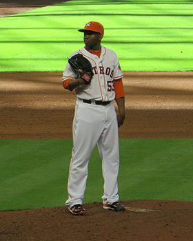 Wesley Wright on mound 2013.jpg