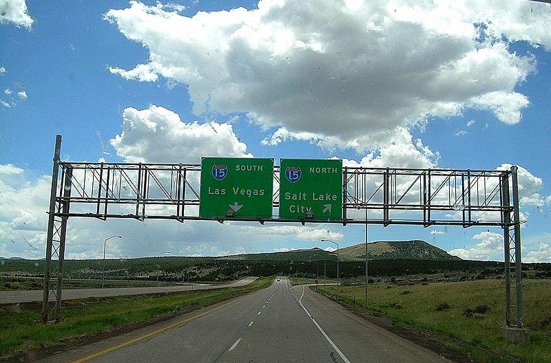 Western terminus of I-70 at Cove Fort, Utah.jpg