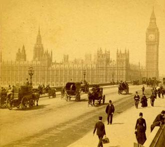 19th-century London - The Houses of Parliament from old Westminster Bridge in the early 1890s