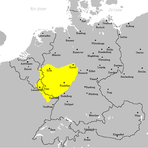 West Central German - Image: Westmitteldeutsches Mundartgebiet
