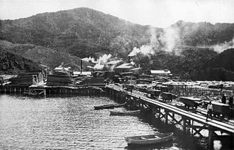 Great Barrier Island - The sawmill at Whangaparapa, c. 1910.