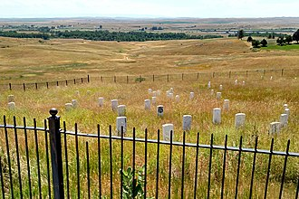 Little Bighorn Battlefield National Monument - Marker indicating where General Custer fell among soldiers - denoted with black-face, in center of photo