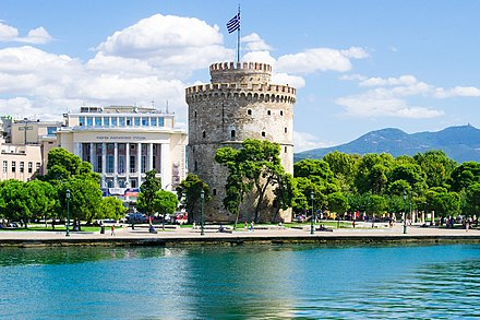 The White Tower of Thessaloniki, one of the best-known Ottoman structures remaining in Greece. White Tower and Beach front.jpg