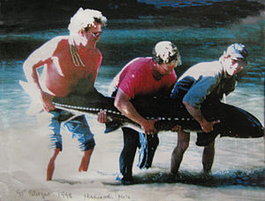 "Russian River (California) - White Sturgeon (Acipenser transmontanus), almost 8 feet long, caught in 1998 in the Russian River's ""Hacienda Hole"" in Guerneville, California."