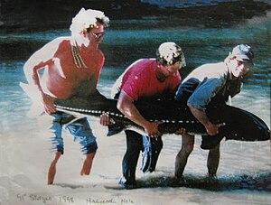 "Russian River (California) - White Sturgeon (Acipenser transmontanus), almost 8 feet long, caught in 1998 in the Russian River's ""Hacienda Hole"" in Guerneville, California."