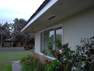 Ranch-style house - Wide eaves of a typical ranch house, this one built in 1966 in California