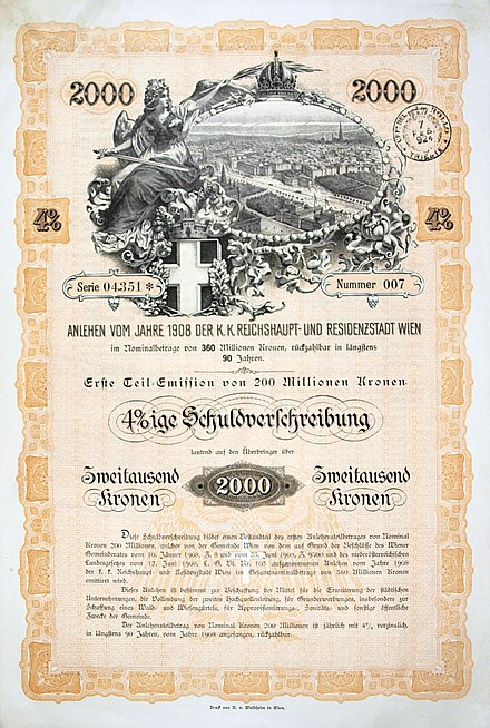 Bond of the city of Vienna, issued 23 June 1908 Wien 1908.JPG