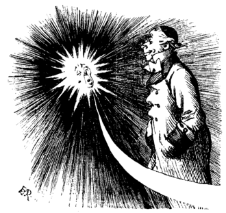 William Frederick Denning - William Denning celebrated in Punch magazine Vol. 102, 9 April 1892, on the occasion of The Times newspaper commenting on Denning's discovery of a small faint comet on Friday 18 March 1892 at Bishopston, Bristol