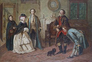 The Good-Natur'd Man - William Powell Frith: Mr Honeywell introduces the bailiffs to Miss Richland as his friends, 1850