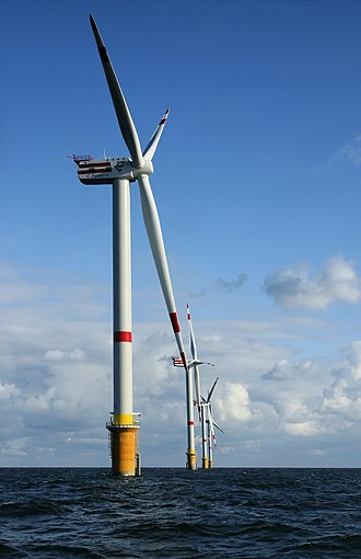 Wind turbine - Offshore wind farm, using 5 MW turbines REpower 5M in the North Sea off the coast of Belgium.