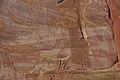 Wingate Sandstone (Upper Triassic) with desert varnish, Fremont Petroglyphs Cliff, Capitol Reef National Park, southern Utah 16 (8445592188).jpg