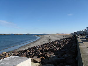 """Winthrop Beach - Winthrop Beach, looking south  with three of the """"Five Sisters"""" on the left"""