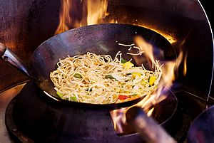 Noodle - Stir-frying noodles using wok