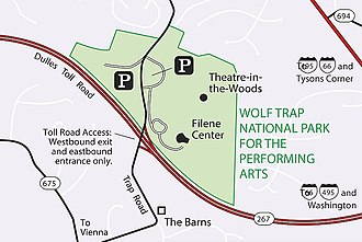Wolf Trap National Park for the Performing Arts - Image: Wolf Trapmapcroppedfrom NP Swebsite