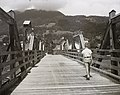 Wooden bridge, kid, barrier, mountain, picture Fortepan 83965.jpg