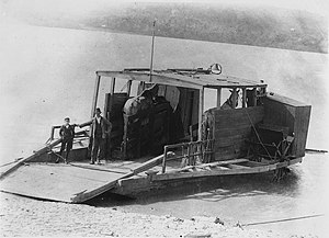 Team boat - Horse ferry in Chillicothe, Ohio in 1900. Two horsepower hay burner, with Capt. Horace McElfresh and son.