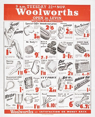 Woolworths (New Zealand) - Ad for Woolworths NZ from 1949.