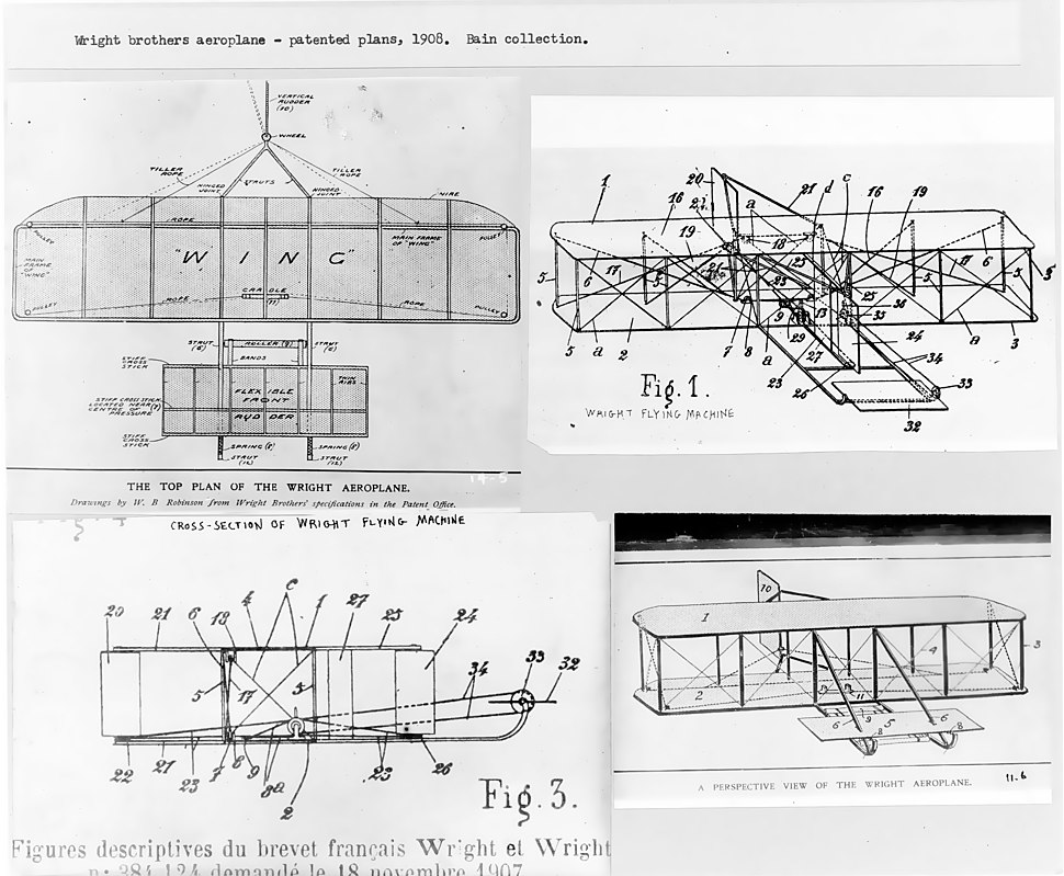 Wright brothers patent plans 1908