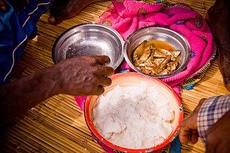 Ugali - Ugali and usipa (small fish), staples of the Yawo people of the African Great Lakes.