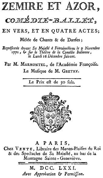 File:Zémire et Azor Libretto 1771 sauberer.jpg (Source: Wikimedia)