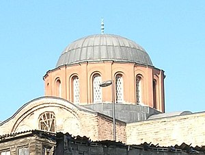 History of Roman and Byzantine domes - A dome of the former Pantokrator Monastery, showing an exposed external profile and lead roofing