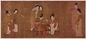 Zhou Fang (Tang dynasty) - Court Ladies Playing Double Sixes, attributed to Zhou Fang.