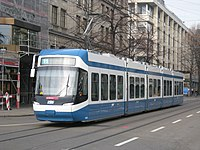 A Bombardier Cobra low-floor tram on typical VBZ street track
