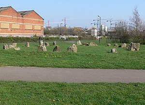 English: `Stone circle` in a small open space.