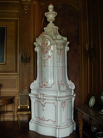 Wood fuel - Ceramic stoves are traditional in Northern Europe: an 18th-century faience stove at Łańcut Castle, Poland