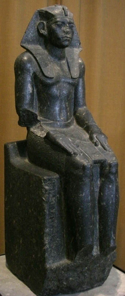 Seated Statue of Amenemhat III, around 19th century BC. The State Hermitage Museum Statuia faraona Amenemkheta III.jpg