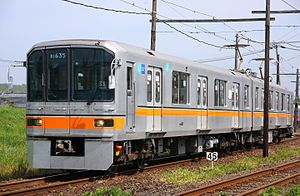 Tokyo Metro 01 series - Former 01 series cars 01-135 and 01-635 as a Kumamoto Electric Railway 01 series in May 2016
